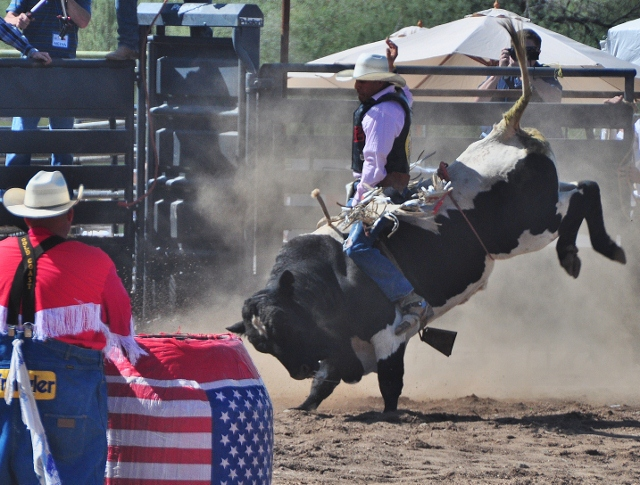 bull rider hangs in for 8 seconds