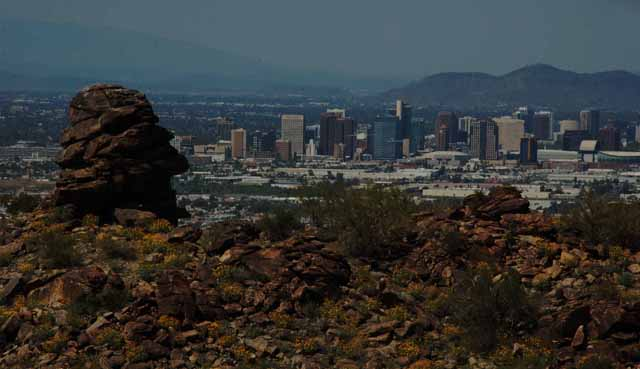 the Phoenix skyline from the Holbert Trail, South Mountain Park