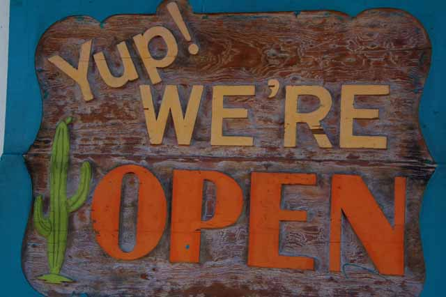 Yup, we're open sign