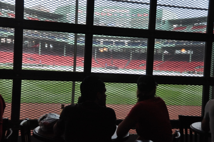 inside Fenway Park bar looking at the diamond