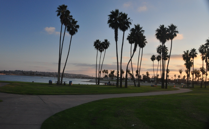 A walking path on Mission Bay's west side