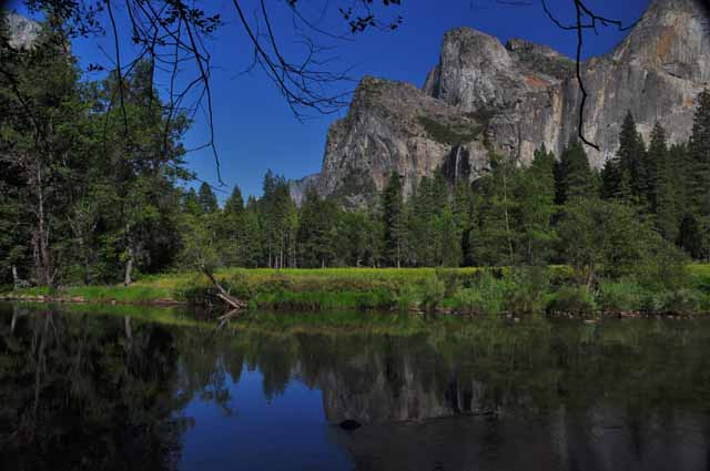 reflection of mountains in merced river