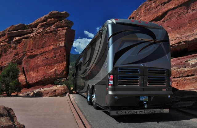 motorhome driving through rock formations