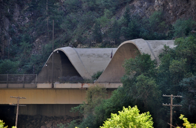 view of the interstate tunnel from the Glenwood Canyon bike path