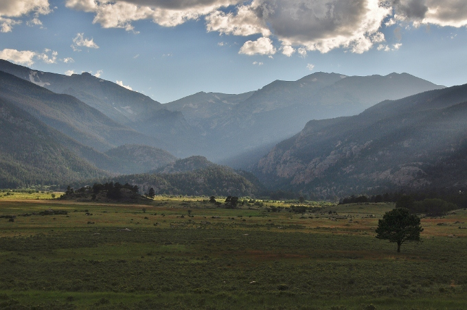 An open pasture with the Rockies in the background, RMNP