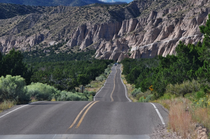 road leading to tent rock formations