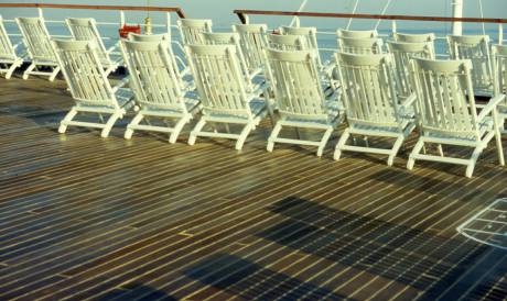 deck chairs await loungers