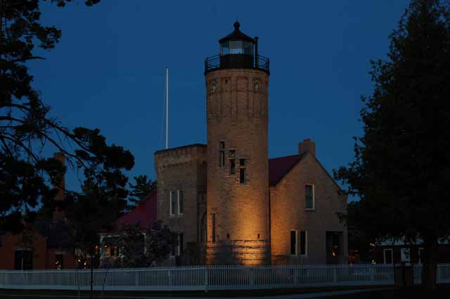 Old Mackinac Point Lighthouse at night