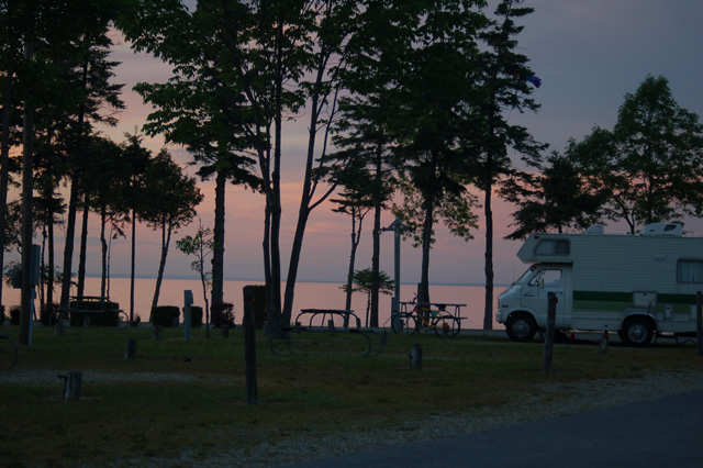 sunset at Mill Creek Campground in Mackinaw City