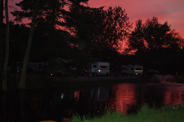 sunset, Kamp Across from the Dunes campground