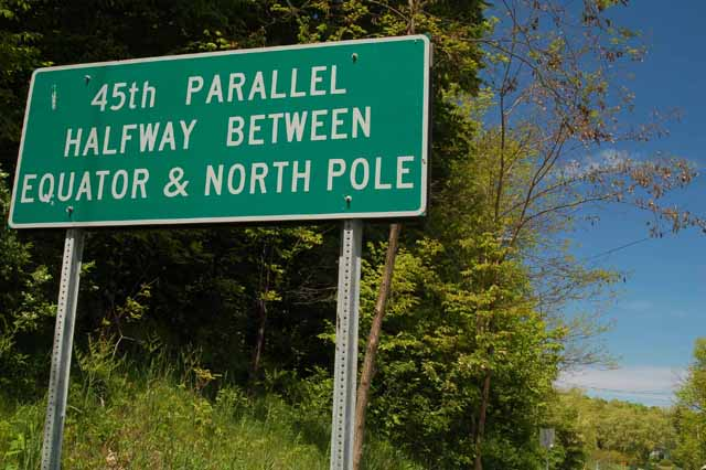 The 45th parallel, near Leland, Michigan
