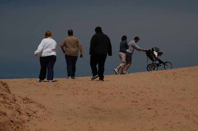 a group of people overlooks the edge of the dunes