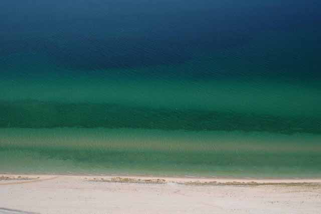 the blue green water of Lake Michigan