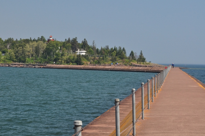 Looking back to shore at Two Harbors Lighstation from the breakwater