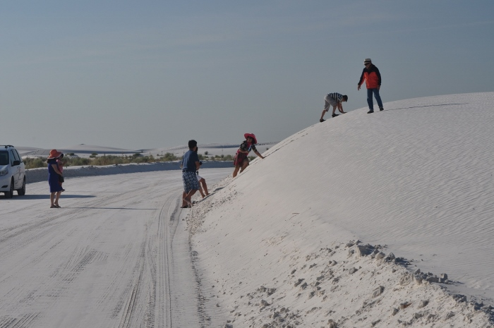 visitors climbing a dune