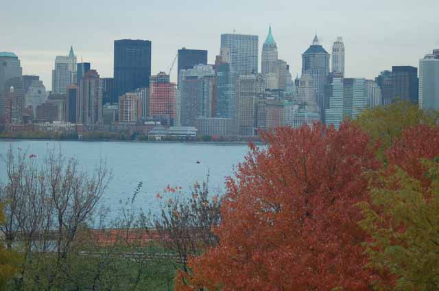NYC skyline with autumn trees