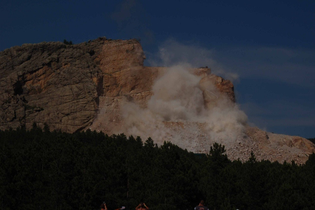 the blasting of rock at Crazy Horse