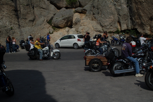 my car among the bikers on the Needles Highway