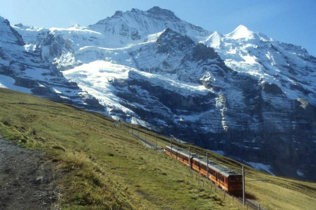 a cog train in the Jungfrau region