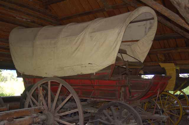 covered wagon on display at Menor's Ferry