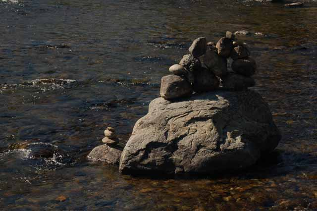 An inukshuk or cairn, built in S. Jenny Lake runoff water