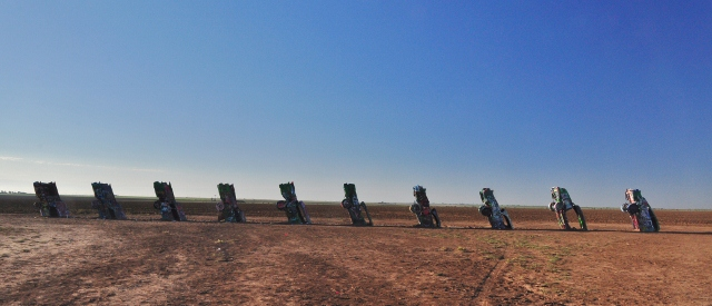 Cadillac Ranch, as seen from the highway