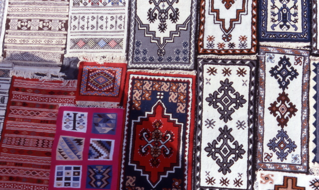 carpets sold at the camel market in Nabeul